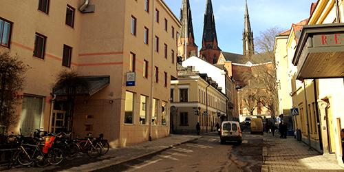 Ingång till CityStay från Trädgårdsgatan 5A Uppsala